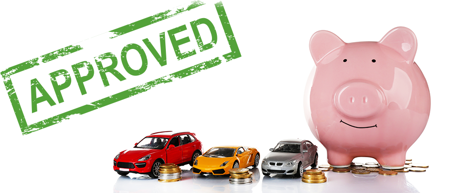 CCJ car finance approved stamp next to a piggy bank, coins and 3 toy cars