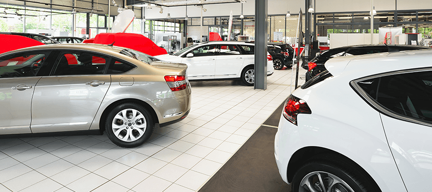 cars parked in showroom available for used car finance